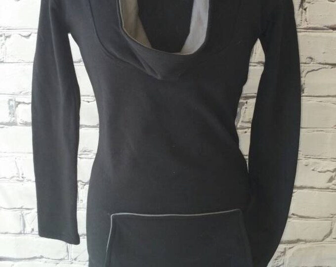 Black Organic Cowl Neck Sweatshirt