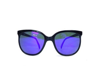 vintage 80s deadstock sunglasses round black plastic frame sun glasses retro eyewear men women classic traditional blue purple revo NOS 190