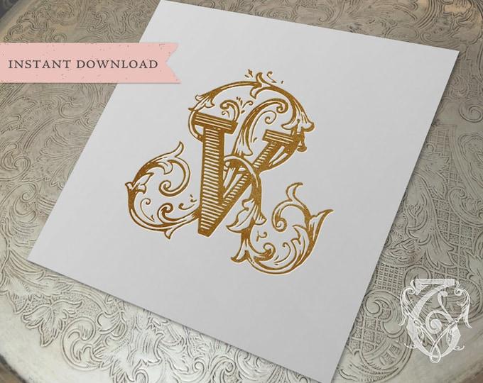 Vintage Wedding Monogram RV VR Digital Download R V