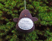 Personalized Penguin Christmas Ornament, Baby's First Christmas Personalized Ornament, Custom Ornament - Dark Gray Penguin
