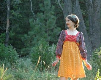 Gypsy Dress / Boho Dress / 60s / 1960s / Cotton/ Folk / Dress / Bohemian Dress / Mori Girl / Peasant