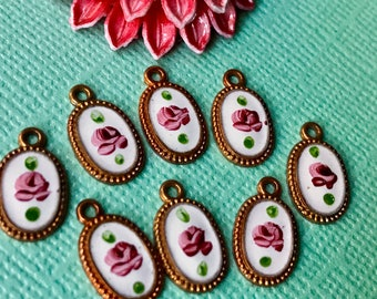 4 Vintage Guilloche Charms, Enameled Charms, Floral Charms, Enamel roses, Shabby chic Charms, copper, cameo charms  #1248K
