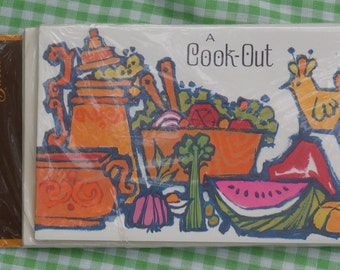 8 Retro 1970s Era Invitations, A Cook Out - And You're Invited, Gibson Greetings Orange, Green, Red Vintage Old Stock