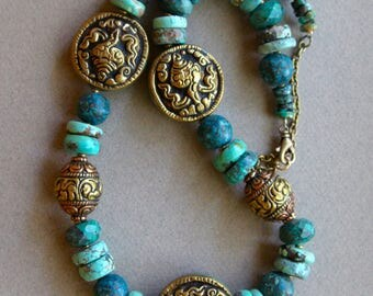 Tibetan Turquoise Necklace w Vintage Tibetan Turquoise and Repousee Brass Conch Shell Beads Ethnic Gemstone Jewelry