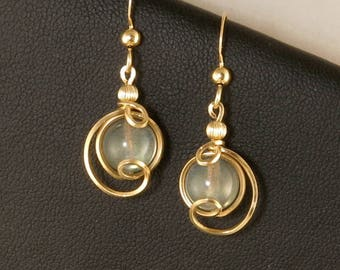 Gray Labradorite Gemstone Gold Drop Earrings, Unique Gold Filled Iridescent Wire Wrapped Labradorite Earrings