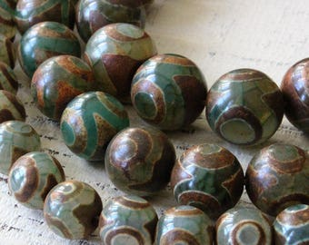 Rustic Tribal Tibetan Dzi Beads - Round Tibetan Agate Beads - Jewelry Making Supplies - Rustic Agate Beads - 3 Sizes -  Choose Amount