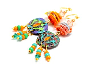 Colorful Fiber Bead Earrings. Artisan Painted Metal Clay Lotus Charms. Colorful Fiber Beads. Boho Gypsy Earrings. Gifts For Her.