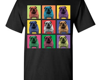Bulldog Dog Pop-Blocks T-Shirt Tee - Men, Women Ladies, Youth Kids, Long Sleeve bull dog