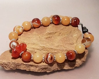 Agate Beaded Bracelet, Agate Bracelet, Carnelian Melon Focal Bead, Stone Bracelet, Orange Bracelet,  Natural Stone