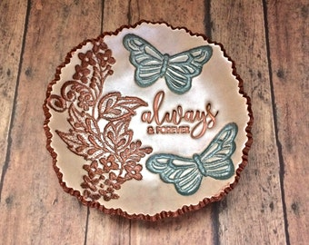 Always & Forever Vintage Lace Leaf Vine Butterfly Jewelry Dish Ring Holder Anniversary Love Gift For Her, Antique Copper Pearl Patina Green