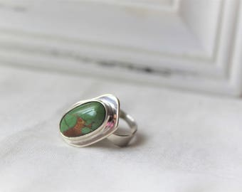 Sterling Silver and Royston Turquoise Ring - Handmade Jewelry 925 Gemstone Size 7