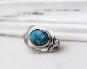 Oxidized Sterling Silver and Blue Ridge Turquoise Ring - Handmade Jewelry 925 Gemstone Size 10