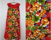 1970s Red Hawaiian Maxi Dress with Wide Collar - Penneys Hawaii - Bust 42 (B6)