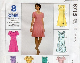 1990s Out of Print Womens Dress Pattern - McCall's 8715 - Size 14 16 18 UNCUT FF