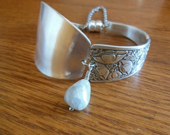 Poppies  Antique Sterling Silver Spoon Bracelet    7.25 inch