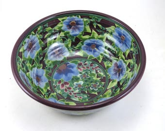 """Purple Ceramic Serving Bowl - 7"""" Porcelain Serving Bowl with Blue Flowers - Handmade One of a Kind"""