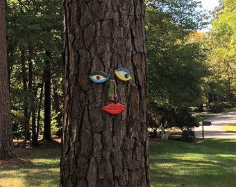 Picasso Inspired Tree Face - Original Unique Handmade Garden Art Yard  -  In Stock
