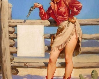Western pin up 8 x 10 vintage reproduction  image