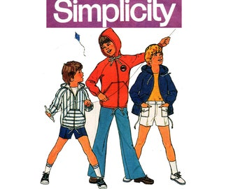 Simplicity 6955 Boys Retro Hooded Jacket Pants & Shorts 70s Vintage Sewing Pattern Size 8 Chest 27 inches