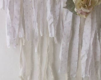Pink Polka Dot Lace Fabric Garland. White Cream Pink Shabby Chic Garland Photo Prop. Girls Nursery Decor. Shabby Chic Cottage Christmas