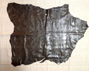 SHRM588.  Brown Distressed Leather Lambskin