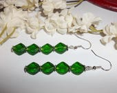 Green Earrings 925 Sterling Silver Backs Dangle Jewelry Handmade For Gift Idea Woman and Girl Everyday Casual Boho Long Drop Set wvluckygirl