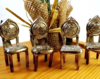4 Victorian Chair Napkin Rings Silver Metal Set Miniature Tiny