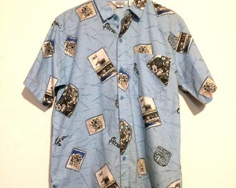 Western Photographs Short Sleeve Button Up Shirt medium mt13473