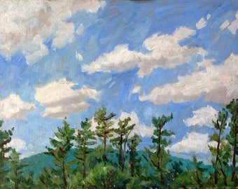 Tall Pines, Tanglewood Sky. Original Oil Painting Landscape, 11x14 Plein Air Impressionist Oil on Panel, Signed Original Berkshires Fine Art
