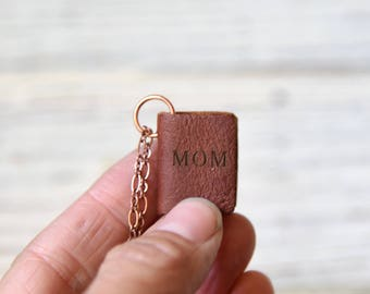 Personalized Miniature Leather Book Necklace, Monogram, Initial Necklace, Wife Gift, Book Lover, Birthday Gift, Name Necklace, Gift for Her