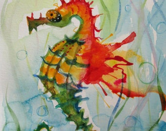 Wild Seahorse colorful original watercolor painting 12x9 Art by Delilah