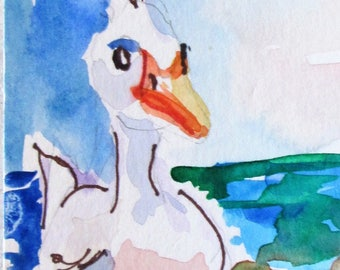 aceo Duck bird watercolor painting Art by Delilah