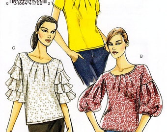 Sz 6/8/10/12 - Vogue Top Pattern V8392 - Misses' Pullover, Front Pleated Top in Three Variations - Very Easy Vogue Patterns