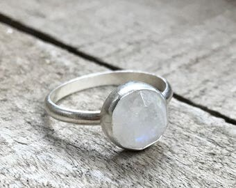 Large Round Faceted Rainbow Moonstone Sterling Silver Ring | Moonstone Ring | Geometric Ring | Gifts for Her | Boho | Birthstone Ring