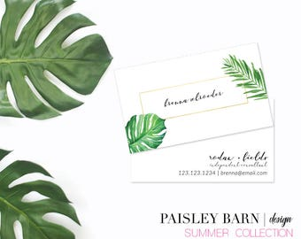 Tropical Palm BUSINESS CARD | Gold Foil Detail | skincare, business, marketing, printed, personalized, direct sales, Rodan, Fields, summer