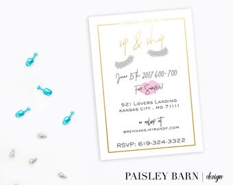 Sip and Shop Lashes and Lips Invite