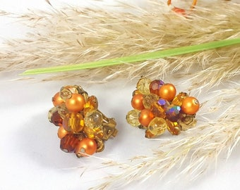 Vintage Amber Crystal Crescent Clips by Eugene