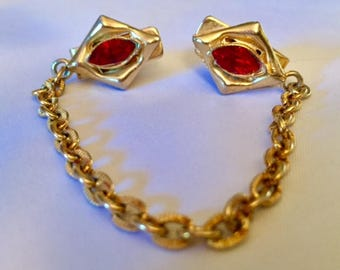 Vintage Antique Sweater Clip Guard Gold Tone Red Rhinestone 1950s 1960s Mid Century Pinup Modernist