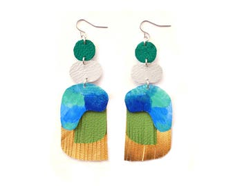 Gold Earrings, Abstract Art Earrings, Emerald Earrings, Green Drop Earrings, Leather Earrings, Water Color Earrings, Painted Earrings