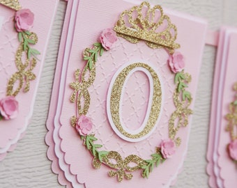 1st princess party banner - first princess party banner - 1st princess banner - pink princess banner - princess birthday banner - princess