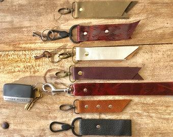 Handmade Leather Key Chain, Key Fob, Leather Valet Keychain, Red Key Chain, Black Leather Key Chain, White Leather Key Chain, FREE Shipping