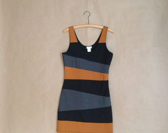 SALE! 90's body con dress / mini dress / color block dress / womens