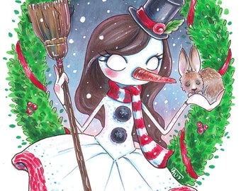 Lady snowman and hare - Original Marker illustration
