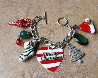 Christmas Chunky Charm Bracelet, 7 Different Charms, Red, White, and Green Enamel, Silver Tone Link Chain