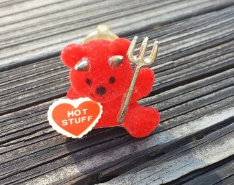 Valentine's Day, Hot Stuff Heart Flocked Red Bear Holding Pitchfork, Vintage Pin