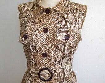 Vintage 60s Mod Cotton Python Snakeskin Print Sleeveless Shift Scooter Sheath Dress