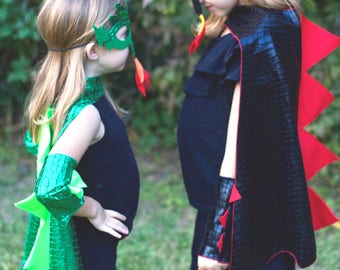GREEN DRAGON Costume Cape with scales and spikes + optional Dragon Mask and Full Costume - Dress Up Costume - Kids Halloween Dragon Costume