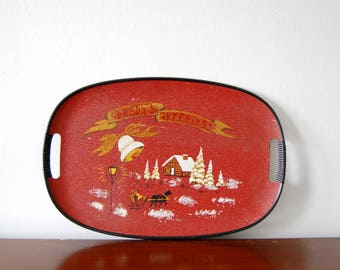 Vintage Christmas Tray - Seasons Greetings - Red Vintage Holiday Serving Tray - 60s Decor - 1960s Kitsch - Christmas Gift