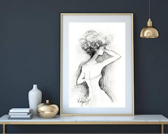 Black White drawings, small original sketches reproduction prints, figure of a woman, bride wedding dress, shoulders and neck, female figure