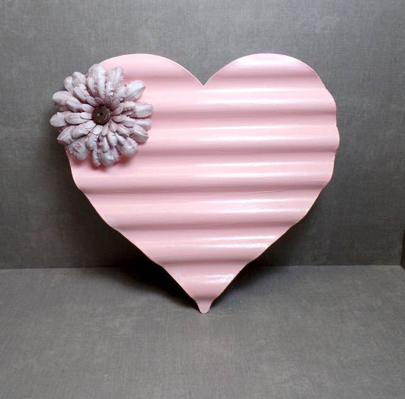 Pink Metal Heart Wall Art - Heart Wall Hanging - Shabby Chic Heart - Heart Decor - Free US Shipping - Gifts